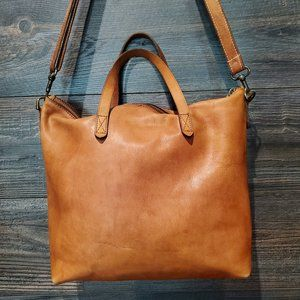 Madewell Zip Top English Leather Transport Tote